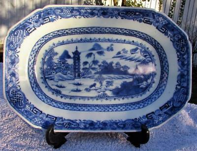 Finest Antique Chinese Qianlong Blue & White Platter Serving Dish