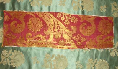 RARE TIMEWORN FRAGMENT 17th/18th CENTURY SILK BROCADE, ITALIAN OR FRENCH