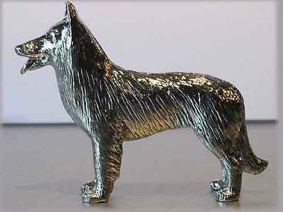 Belgian Shepherd Sheepdog Nickel Silver Figurine Statue Model