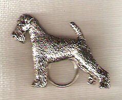 Airedale Terrier Nickel Silver Eye Glass Holder Pin Jewelry