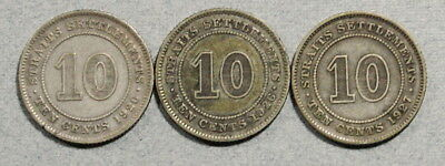 MALAYSIA Straits Settlements 10 Cents 1926,1927 - Lot of 3 Silver Coins No Res.!