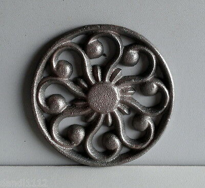 "Appliques Rosette Cast Iron 3"" X 3"" weld or solder to your Crafts project"