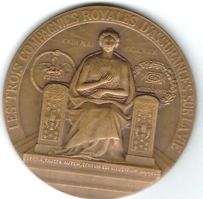 1930 French Medal for 100 Year Anniversary of National Insurance Co. of Paris