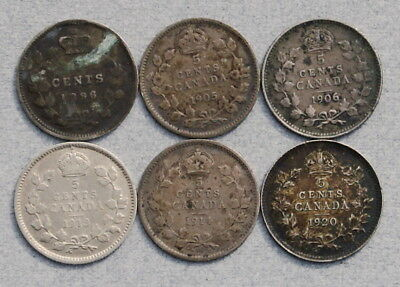 CANADA 5 Cents 1896,1905,1906,1913,1914,1920 - Lot of 6 Silver VG-EF Coins, NR!