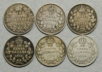 CANADA 10 Cents 1912,1913,1914,1916,1917,1928 Fine - Lot of 6 Silver Coins, NR!