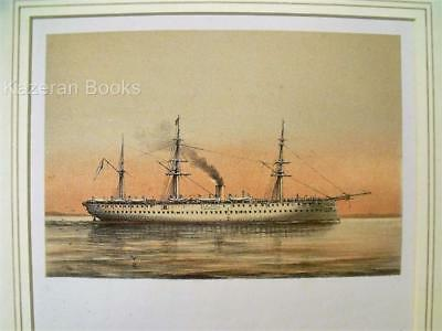 Antique Colour Lithographic Print HMS Crocodile Victorian Ships Of Royal Navy
