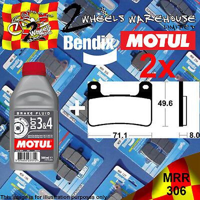 2x BENDIX 306-MRR & DOT3&4 BRAKE FLUID SINTERED PADS KIT FITS MOTORCYCLES LISTED