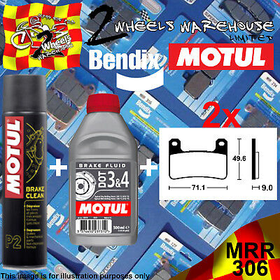 2x BENDIX 306-MRR & DOT 3&4 & P2 BRAKE PADS FLUID CLEAN FITS MOTORCYCLES LISTED