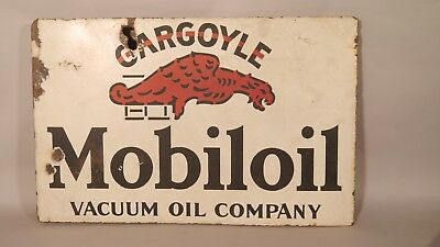 Early Gargoyle Mobiloil Vacuum Oil Company PORCELAIN 2 SIDED FLANGE Sign MOBIL
