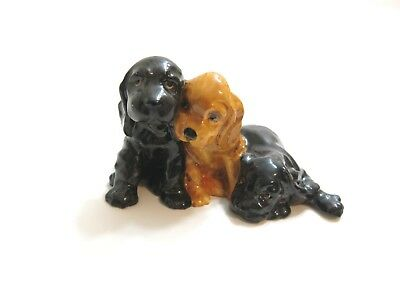 Antique Royal Worcester England Doris Linder Cocker Spaniel Puppy Dogs 3130 ....