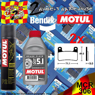 2x BENDIX 306-MCR & DOT 5.1 & P2 BRAKE PADS FLUID CLEAN FITS MOTORCYCLES LISTED