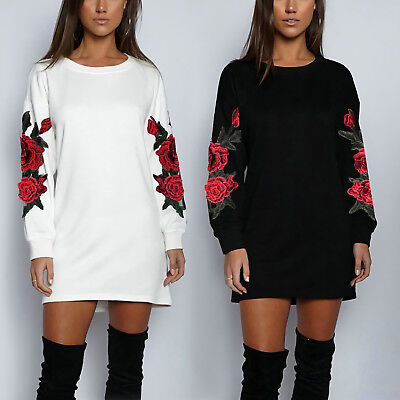 ISASSY Womens Long Sleeve Blouse Floral Pullover Tops Casual T Shirt Mini Dress