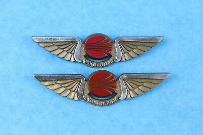 Vintage Pair Of Continental Airlines (Stoffel Seals) Plastic Pilot Wings Pin
