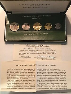 1977 Ethiopia Proof Set - 5 Brilliant Uncirculated Gems -Original Mint Packaging