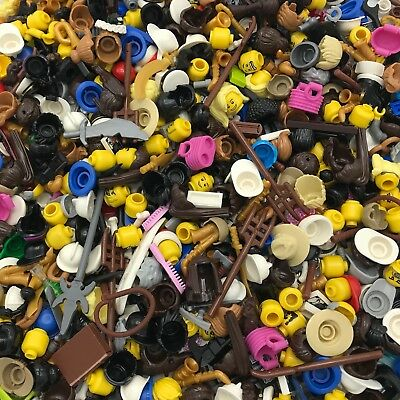 Lego Lot Of 50 New Lego Minifigure Accessories Heads Hair More