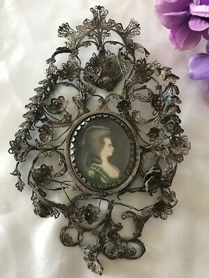 OLD ! Sterling Silver FILIGREE Picture Frame w Oval Beveled Glass  needs repairs