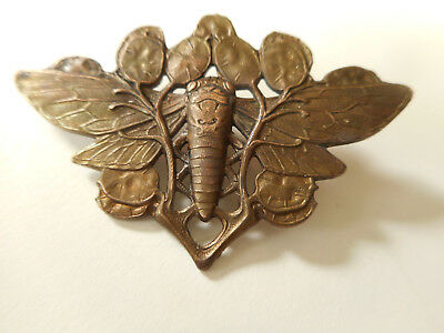 "Art Nouveau Butterfly Insect Tangled in Flowers Brass Antique Button 1-5/8"" Wide"