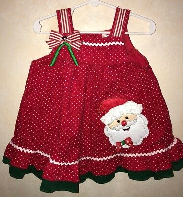 baby girl 12 month rare editions red white santa christmas dress bow gem jumper - 12 Month Christmas Dress