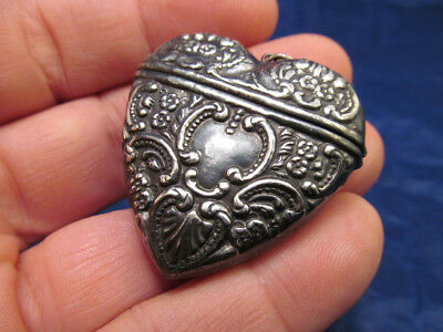 *Antique Sterling Silver Heart Shaped Vesta Match Safe Chatelaine Accessory