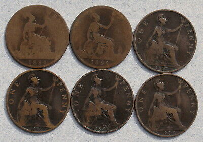 GREAT BRITAIN One Penny 1884-1900 - Lot of 6 Victorian Coins, No Res.!