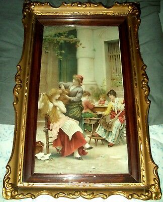 Art Nouveau Ladies In Courtyard Print Two-Tone Wood Shadow Box Frame C.1900