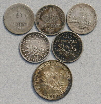 FRANCE 50 Centimes, 1 Franc 1866-1919 - Lot of 6 Silver Coins, No Reserve!