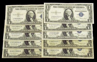 Lot of 10 Assorted Series 1935-A-1935-G $1 Silver Certs -Avg Circ - FR# 1935