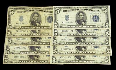 Lot of 10 Series 1934-C $5 Silver Certificates -Average Circ or Better (VG-VF)