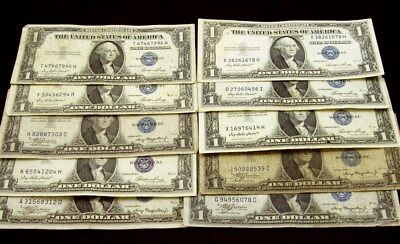 Lot of 10 Assorted Series 1935-A & E $1 Silver Certs -Avg Circ - FR# 1935