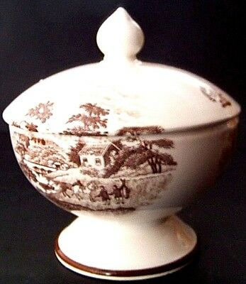 Beautiful Artman scenic water brown on white covered pedestal compote/candy dish