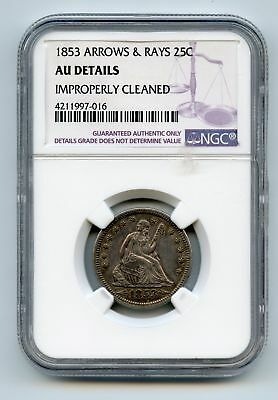 1853 Seated Liberty Arrows & Rays 25C - Ngc Authentic Au Details