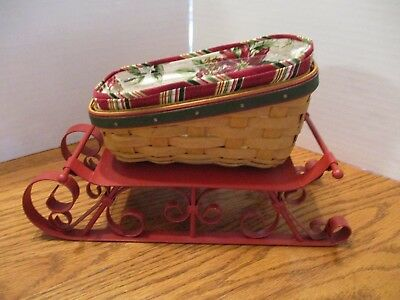 Longaberger Small Sleigh Basket Combo and Runners (red)