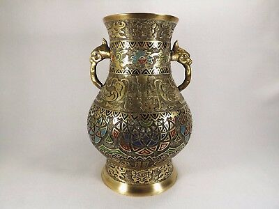 "19th C. Japanese Champleve Bronze/Brass Vase Amazing Cond. Enameled 11 1/2"" TALL"