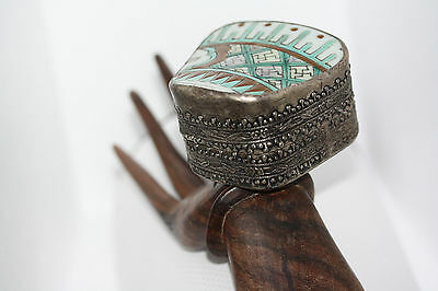 """Collectible Vintage Tibetan Painted Porcelain Silver Alloy Jewelry Snuff Box 2"""""""