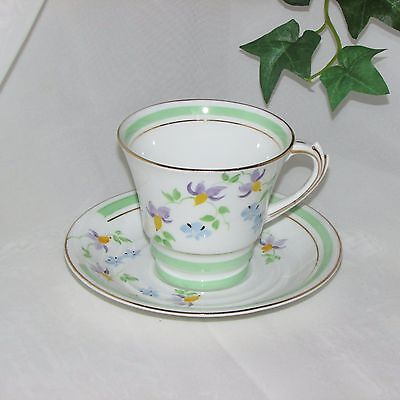 Rosina Vintage Hand Painted Cup & Saucer Bone China Flowers Mint Green England