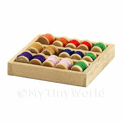 Dolls House Miniature Wooden Tray With 15 Assorted Cotton Reels