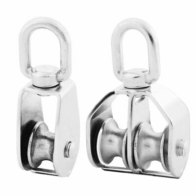 2Pcs M25 304 Stainless Steel Hardware Rope Pulley Block