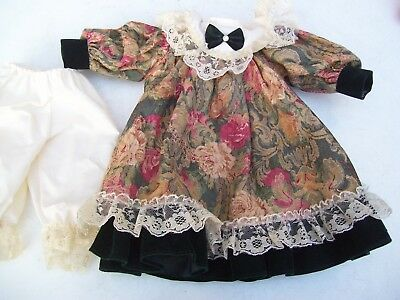 Alte Puppenkleidung Fancy Flowery Dress Outfit vintage Doll clothes 40 cm Girl