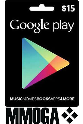 $15 USD Google Play Shop Card - 15 US Dollar Android Store Prepaid Code Key USA