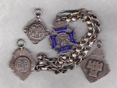 Four Old Hall Marked Silver Fobs Plus Silver Chain In A Used Condition