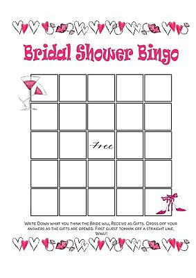 Hen Night Party Bridal Shower Bingo Pack Of 10 Hearts
