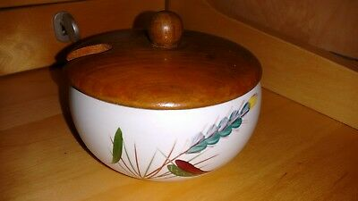 Denby Greenwheat preserve pot & lid : signed by Albert Colledge excellent cond.