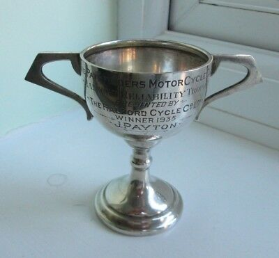 Hallmarked Solid Silver Vintage Motorcycle Racing Trophy 1935 - 88 Grams