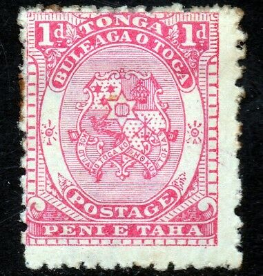 TONGA 1892 King George I One Penny Bright Rose SG 10a MINT