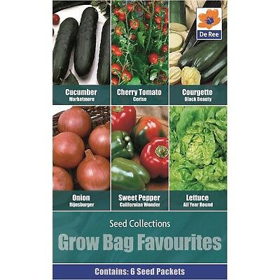 Vegetable Grow Bag Favourites - 6 in 1 pack contains Cucumber, Cherry tomato, Co