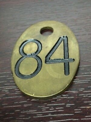 "Antique Vintage Notched Brass 3"" Oval Two Sided 84 Cow Tag"