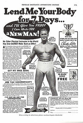 1937 CHARLES ATLAS BODYBUILDER Beefcake AD Lend Me Your Body~Make you a New Man