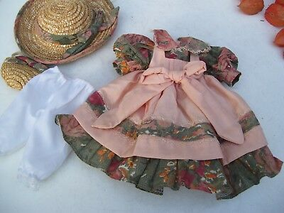 Alte Puppenkleidung Apron Dress Hat Bag Outfit vintage Doll clothes 40 cm Girl
