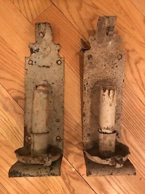 """Vintage Pair Wrought Iron Gothic, Spanish Revival Wall Sconces """"AS FOUND"""""""
