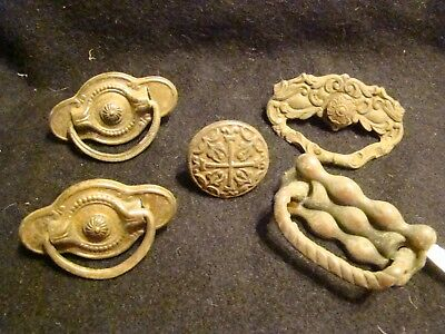 lot Antique vintage Ornate Brass drawer pull Hardware Single Post Pull